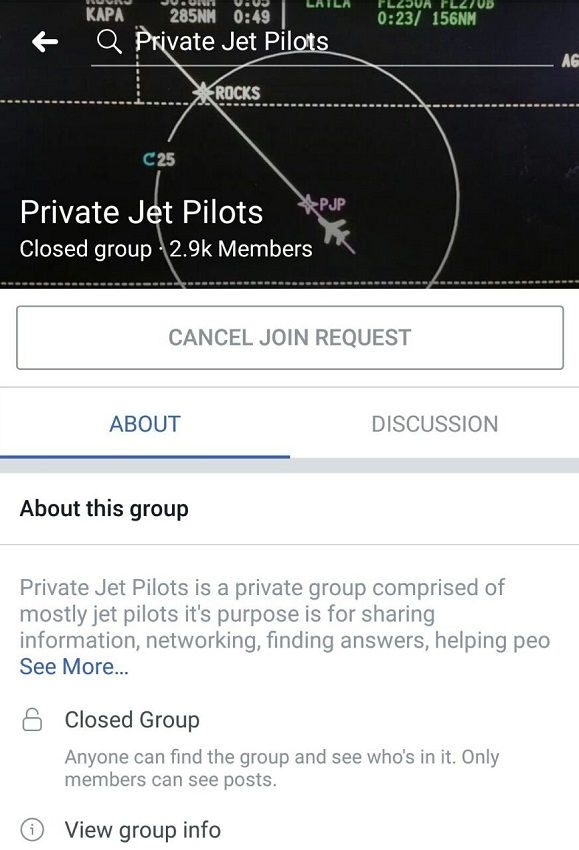 Private Jet Pilots Facebook Group