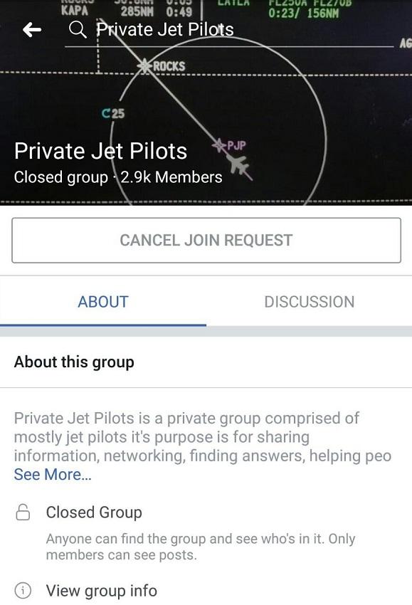 Private Jet Pilots Facebook Group