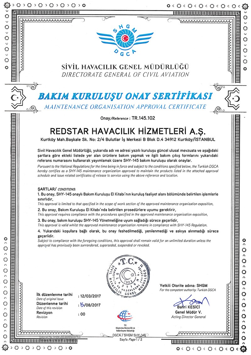 Maintenance Organization Approval Certificate Part-145